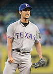 Yu Darvish (Rangers), AUGUST 12, 2013 - MLB : Yu Darvish of Rangers reacts after giving a base on balls during the MLB game between the Texas Rangers and the Houston Astros at Minute Maid Park in Houston, Texas, United States. (Photo by AFLO)