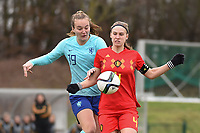 20190206 - TUBIZE , BELGIUM : Belgian Lea Cordier (R) and Dutch Lobke Loonen (L) pictured during the friendly female soccer match between Women under 17 teams of  Belgium and The Netherlands , in Tubize , Belgium . Wednesday 6th February 2019 . PHOTO SPORTPIX.BE DIRK VUYLSTEKE