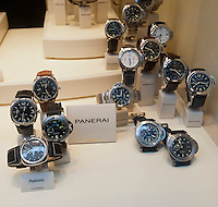 A display of luxury watches is seen in the window of a jewelry store in New York on Sunday, January 22, 2012. (© Richard B. Levine)