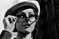 """Manhattan, New York. 1966. France Raysse wife and muse of french artist Martial Raysse. Who developed what became his """"vision hygiene"""" concept; a vision that showcases consumer society."""
