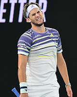 January 2, 2020: 5th seed DOMINIC THIEM (AUT) in action against 2nd seed NOVAK DJOKOVIC (SRB) on Rod Laver Arena in the Men's Singles Final match on day 14 of the Australian Open 2020 in Melbourne, Australia. Photo Sydney Low