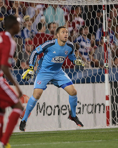 FRISCO, TX - MAY 11:Chris Seitz #18 of FC Dallas in action during the match - FC Dallas v LA Galaxy at FC Dallas Stadium on May 11, 2013 in Frisco, Texas. (Photo by Rick Yeatts)