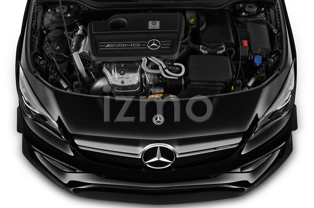 Car stock 2019 Mercedes Benz CLA Coupe 45 AMG 4 Door Sedan engine high angle detail view