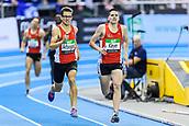2nd February 2019, Karlsruhe, Germany;  1500m Men: Winner Jannik Arbogast on the home straight he overtakes Pascal Kleyer (from left). IAAF Indoor athletics maeeting, Karlsruhe