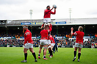 The Bristol Bears forwards practise their lineout during the pre-match warm-up. Gallagher Premiership match, between Leicester Tigers and Bristol Bears on April 27, 2019 at Welford Road in Leicester, England. Photo by: Patrick Khachfe / JMP
