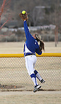 Western Nevada College's Jordan Thomas leaps for a ball during a college softball game against the College of Southern Idaho in Carson City, Nev., on Friday, March 16, 2012..Photo by Cathleen Allison