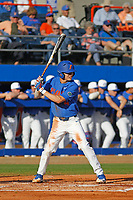 University of Florida Gators infielder Brady McConnell (4) at bat during a game against the Siena Saints at Alfred A. McKethan Stadium in Gainesville, Florida on February 17, 2018. Florida defeated Siena 10-2. (Robert Gurganus/Four Seam Images)