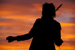 Street performing dancing on the boardwalk at sunset.<br /> Scenes on the boardwalk of Venice Beach in Los Angeles