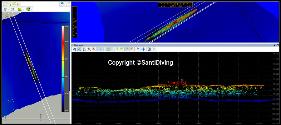 BNPS.co.uk (01202 558833)Pic: SantiDiving/BNPS<br /> <br /> 3D Radar scan of the stricken sub.<br /> <br /> First sight in 77 years - The icy tomb of 58 British submariners lost in WW2 has finally been rediscovered by accident in the North sea.<br /> <br /> HMS Narwhal departed it's base in Blyth, Northumberland on July 22nd, 1940 tasked with the job of laying mines off German-occupied Norway before being intercepted on-route, killing everyone on board.<br /> <br /> Now 77 years later, the wreck appears to have been discovered by a team of Polish deep-sea explorers, who were carrying out a search for one of their nation's lost submarines, the ORP Eagle.<br /> <br /> The largely intact vessel is lying 140 miles off the coast of Scotland in waters nearly 100 metres deep.