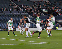 Jamie Lindsay (furthest right) shooting to score the opening goal in the Dunfermline Athletic v Celtic Scottish Football Association Youth Cup Final match played at Hampden Park, Glasgow on 1.5.13.