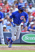 Chicago Cubs right fielder Jason Heyward (22) swings at a pitch during a game against the Atlanta Braves at Turner Field on June 11, 2016 in Atlanta, Georgia. The Cubs defeated the Braves 8-2. (Tony Farlow/Four Seam Images)