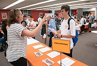 Academic Department Information Fair in the Academic Commons. Incoming first-years and their families are welcomed by enthusiastic O-Team members and other members of the community during Occidental College's Fall move-in and orientation for the class of 2022, Aug. 23, 2018.<br /> (Photo by Marc Campos, Occidental College Photographer)