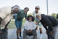 Uncle Drew (2018)<br /> Shaquille O'Neal, Chris Webber, Nate Robinson, Reggie Miller and Kyrie Irving on the set of <br /> *Filmstill - Editorial Use Only*<br /> CAP/KFS<br /> Image supplied by Capital Pictures