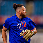 26 March 2018: Toronto Blue Jays catcher Russell Martin warms up prior to a pre-season exhibition game against the St. Louis Cardinals at Olympic Stadium in Montreal, Quebec, Canada. The Cardinals defeated the Blue Jays 5-3 in the first of two MLB Grapefruit League games. Mandatory Credit: Ed Wolfstein Photo *** RAW (NEF) Image File Available ***