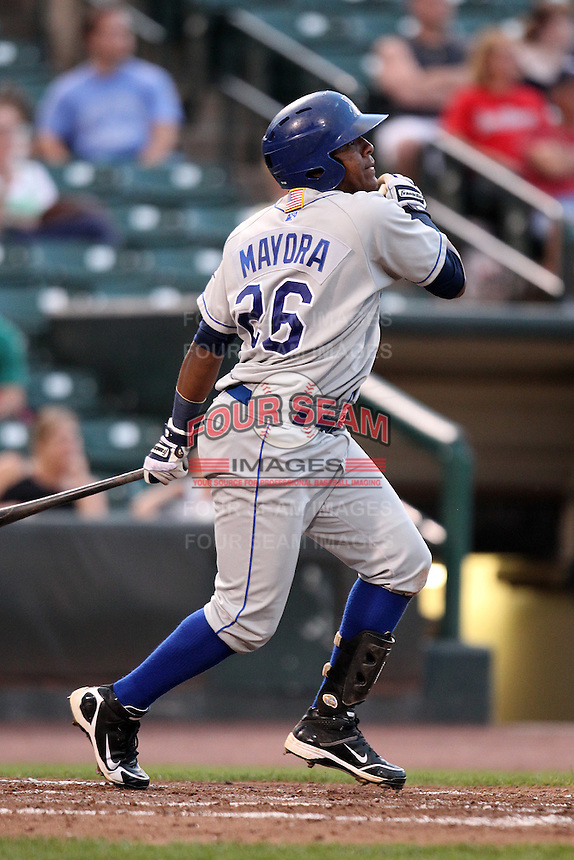 Durham Bulls second baseman Daniel Mayora #26 during a game against the Rochester Red Wings at Frontier Field on July 18, 2011 in Rochester, New York.  Durham defeated Rochester 4-1.  (Mike Janes/Four Seam Images)