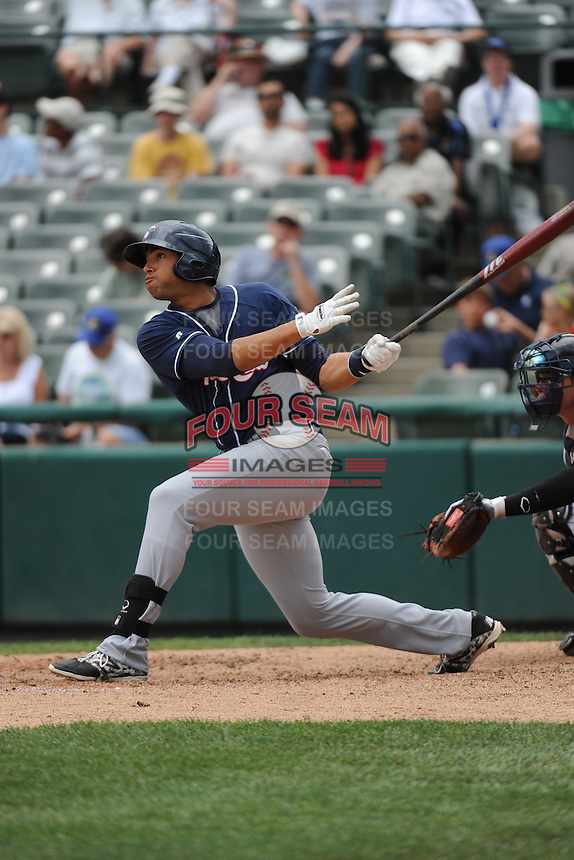 New Hampshire Fisher Cats outfielder Michael Crouse (20) hits a home run during game against the Trenton Thunder at ARM & HAMMER Park on June 22, 2014 in Trenton, NJ.  New Hampshire defeated Trenton 7-2.  (Tomasso DeRosa/Four Seam Images)