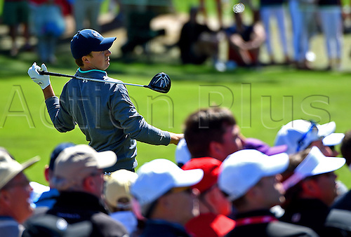 09.04.2016. Augusta, GA, USA.  Jordan Spieth follows through on his swing from the 3rd tee during the third round of the 80th Masters at the Augusta National Golf Club in Augusta, Ga., on Saturday, April 9, 2016
