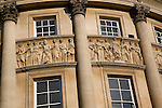 Detail carvings Roman figures Guildhall, Bath, England