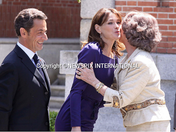 "PRESIDENT NICOLAS SARKOZY AND CARLA BRUNI MEET QUEEN SOFIA.King Juan Carlos, Queen Sofia, Prince Felipe and Princess Letizia received French President Nicolas Sarkozy and wife Carla Bruni for lunch at Zarzuela Palace. Madrid_27/4/2009.Mandatory Credit Photo: ©NEWSPIX INTERNATIONAL..**ALL FEES PAYABLE TO: ""NEWSPIX INTERNATIONAL""**..IMMEDIATE CONFIRMATION OF USAGE REQUIRED:.Newspix International, 31 Chinnery Hill, Bishop's Stortford, ENGLAND CM23 3PS.Tel:+441279 324672  ; Fax: +441279656877.Mobile:  07775681153.e-mail: info@newspixinternational.co.uk"