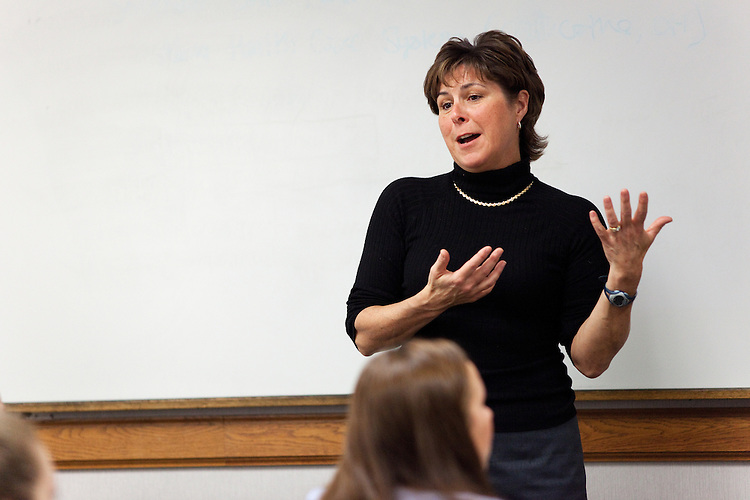 Tammy Reynolds teaches a class in Copeland Hall at Ohio University in Athens, Ohio on Wednesday, February 20, 2013. Photo by Chris Franz