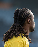 Marcus Bean of Wycombe Wanderers new hair style during the Sky Bet League 2 match between Wycombe Wanderers and Stevenage at Adams Park, High Wycombe, England on 12 March 2016. Photo by Andy Rowland/PRiME Media Images.