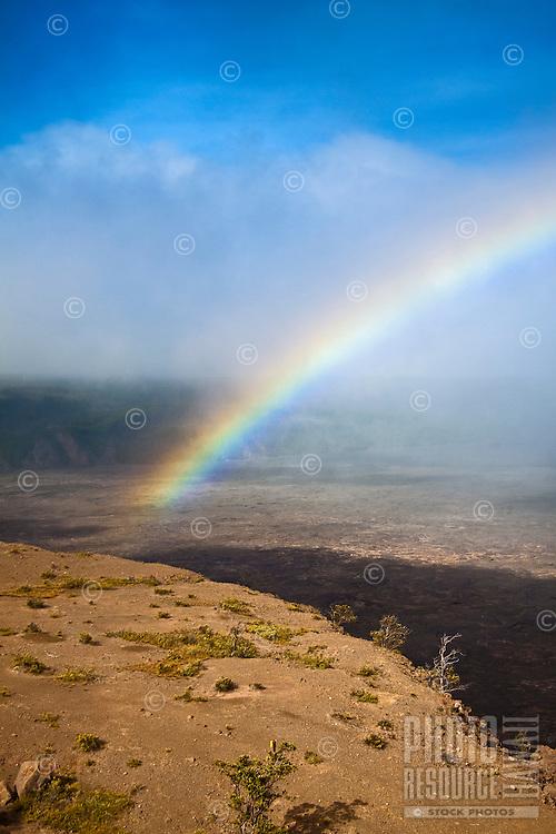 Rainbow over Kilauea Caldera, Hawai'i Volcanoes National Park, Kilauea, Big Island.