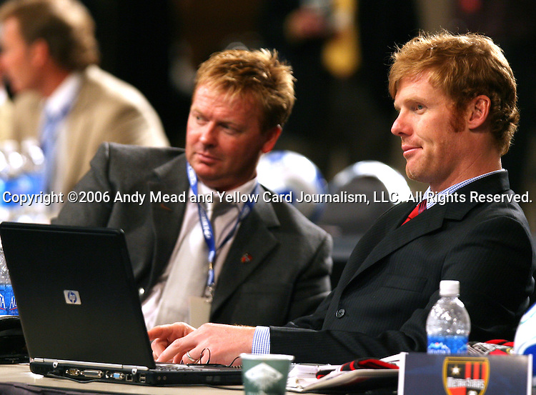 20 January 2006: MetroStars president Alexi Lalas (r) with head coach Mo Johnston (l). The 2006 MLS SuperDraft was held in the Pennsylvania Convention Center in Philadelphia, PA during the National Soccer Coaches Association of America's annual convention.