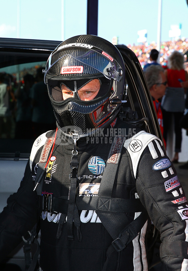 Apr 21, 2017; Baytown, TX, USA; NHRA funny car driver Del Worsham during qualifying for the Springnationals at Royal Purple Raceway. Mandatory Credit: Mark J. Rebilas-USA TODAY Sports