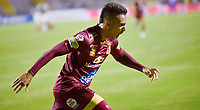 IBAGUE – COLOMBIA, 03-10-2019: Alex Castro del Tolima celebra después de anotar el tercer gol de su equipo partido entre Deportes Tolima y Deportivo Cali por la fecha 14 de la Liga Águila II 2019 jugado en el estadio Manuel Murillo Toro de la ciudad de Ibagué. / Alex Castro of Tolima celebrates after scoring the third goal of his team during match between Deportes Tolima and Deportivo Cali for the date 14 as part of Aguila League II 2019 played at Manuel Murillo Toro stadium in Ibague. Photo: VizzorImage / Juan Carlos Escobar / Cont