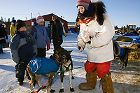 Honorary 2007 Iditarod musher Susan Butcher's husband David Monson and his daughter Tekla at the Elim checkpoint