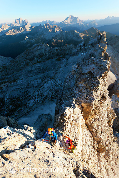 A couple on the Via Ferrata Tomaselli, arguably one of the hardest in the Italian Dolomites