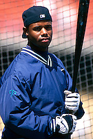 Ken Griffey,jr. of the Seattle Mariners during a game at Anaheim Stadium in Anaheim, California during the 1997 season.(Larry Goren/Four Seam Images)