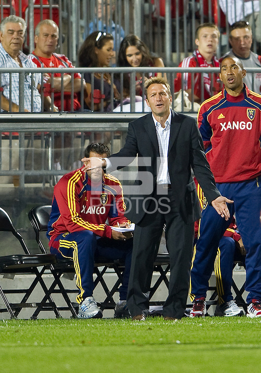 28 August 2010: Real Salt Lake head coach Jason Kreis appeals to the referee during a game between Real Salt Lake and Toronto FC at BMO Field in Toronto..The game ended in a 0-0 draw..