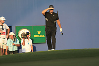 Tom Lewis (ENG) on the 18th during the 3rd round of the DP World Tour Championship, Jumeirah Golf Estates, Dubai, United Arab Emirates. 23/11/2019<br /> Picture: Golffile | Fran Caffrey<br /> <br /> <br /> All photo usage must carry mandatory copyright credit (© Golffile | Fran Caffrey)