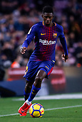 7th January 2018, Camp Nou, Barcelona, Spain; La Liga football, Barcelona versus Levante; Ousmane Dembélé of FC Barcelona runs with the ball during an attack