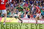 James O'Donoghue Kerry in action against Kevin Crowley Cork in the Munster Senior Football Final at Fitzgerald Stadium on Sunday.