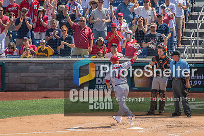 7 August 2016: Washington Nationals catcher Wilson Ramos crosses home plate after hitting a solo home run in the 7th inning against the San Francisco Giants at Nationals Park in Washington, DC. The Nationals shut out the Giants 1-0 to take the rubber match of their 3-game series. Mandatory Credit: Ed Wolfstein Photo *** RAW (NEF) Image File Available ***
