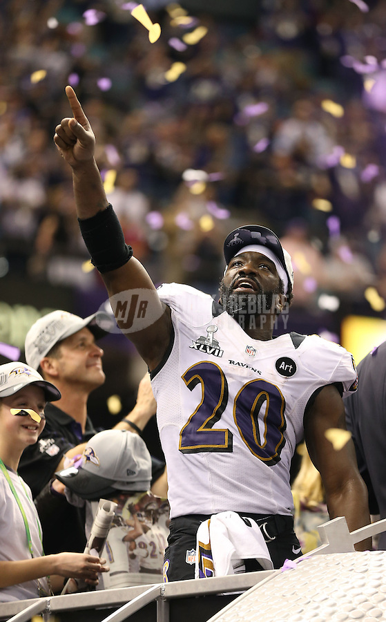 Feb 3, 2013; New Orleans, LA, USA; Baltimore Ravens free safety Ed Reed celebrates after defeating the San Francisco 49ers in Super Bowl XLVII at the Mercedes-Benz Superdome. Mandatory Credit: Mark J. Rebilas-