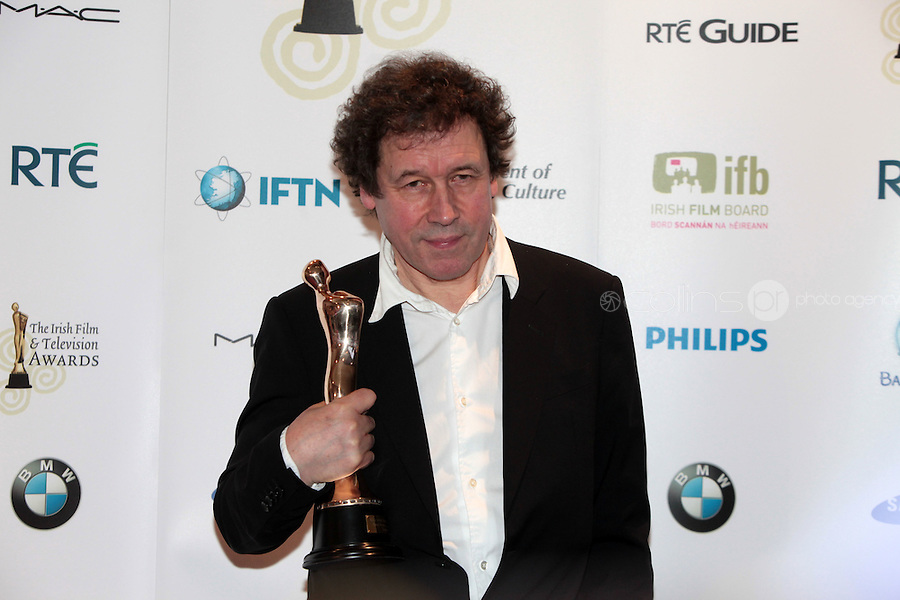12/2/11 Stephen Rea, winner of Best Actor in a Supporting Role for Single Handed at the 8th Irish Film and Television Awards at the Convention centre in Dublin. Picture:Arthur Carron/Collins