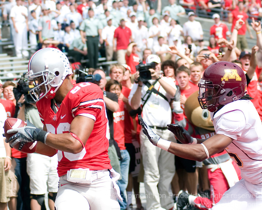 September 27, 2008: Ohio State wide receiver Brian Robiskie (80) makes an 8-yard touchdown reception. The Ohio State Buckeyes defeated the Minnesota Gophers 34-21 on September 27, 2008 at Ohio Stadium, Columbus, Ohio.