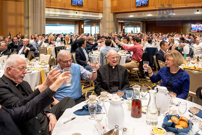 May 5, 2018; Rev. George Rozum, C.S.C. is toasted at a dinner in the Dahnke Ballroom honoring his 50-year jubilee as a priest and 40th year as rector of Alumni Hall. (Photo by Matt Cashore/University of Notre Dame)