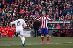 Atletico de Madrid´s Griezmann reacts during 2014-15 La Liga match between Atletico de Madrid and Real Madrid at Vicente Calderon stadium in Madrid, Spain. February 07, 2015. (ALTERPHOTOS/Victor Blanco)