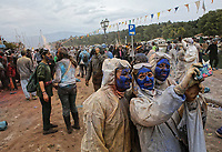 Pictured: Flour wars participants take a selfie in Galaxidi, Greece. Monday 19 February 2019<br /> Re: Clean Monday (Monday of Lent) celebration of flour wars (Alevromoutzouroma) in the town of Galaxidi, which coincides with the beginning of the Greek Orthodox Lent in Greece. The origins of the custom are unclear, however it appears in its current form since the mid-19th century.<br /> Locals and visitors of all ages gather to collect large quantities of flour which they throw to each other. Various types of coloring is added for effect while people paint their faces with charcoal.