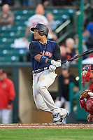 New York Yankees second baseman Starlin Castro (14), on a rehab assignment with the Scranton/Wilkes-Barre RailRiders, at bat during the first game of a doubleheader against the Rochester Red Wings on August 23, 2017 at Frontier Field in Rochester, New York.  Rochester defeated Scranton 5-4 in a game that was originally started on August 22nd but was postponed due to inclement weather.  (Mike Janes/Four Seam Images)