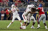 NWA Democrat-Gazette/BEN GOFF @NWABENGOFF<br /> Nick Starkel, Arkansas quarterback, throws the ball in the fourth quarter vs Ole Miss Saturday, Sept. 7, 2019, at Vaught-Hemingway Stadium in Oxford, Miss.