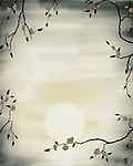 Artistic illustration of sakura cherry blossom in spring sunrise scenery against the sun