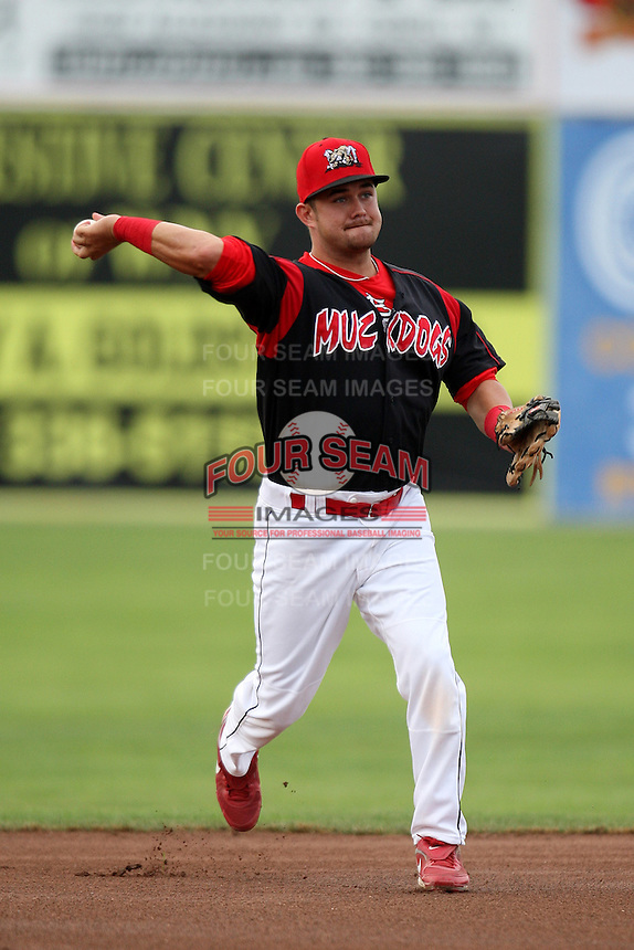 Batavia Muckdogs second baseman Jeremy Patton #12 during a game against the State College Spikes at Dwyer Stadium on July 7, 2011 in Batavia, New York.  Batavia defeated State College 16-3.  (Mike Janes/Four Seam Images)