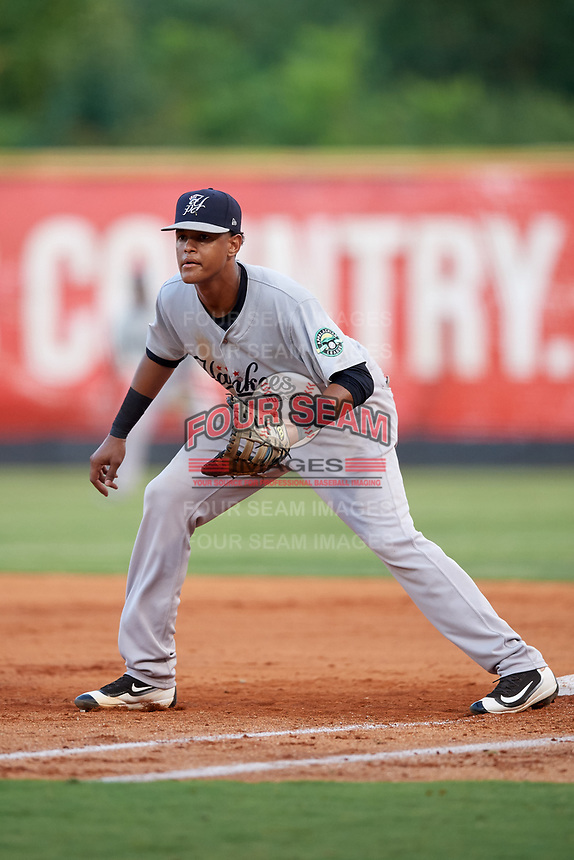 Pulaski Yankees first baseman Carlos Tatis (72) during a game against the Greeneville Reds on July 27, 2018 at Pioneer Park in Tusculum, Tennessee.  Greeneville defeated Pulaski 3-2.  (Mike Janes/Four Seam Images)