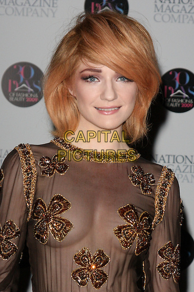 NICOLA ROBERTS - GIRLS ALOUD.30 Days of Fashion & Beauty Gala Party at the Natural History Museum, Kensington, London, England. .September 21st, 2009.half length black sheer top see through thru gold flowers print embroidered cleavage.CAP/ROS.©Steve Ross/Capital Pictures.