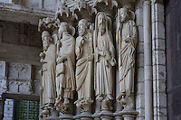 From left to right, Melchizedek, Abraham and his son Isaac, Moses, Aaron and King David, left jamb, central door, north porch, 13th century, Chartres Cathedral, Eure et Loir, France. Picture by Manuel Cohen